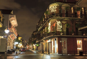 French Quarters in New Orleans lit up for the holidays in the Big Easy/New Orleans.